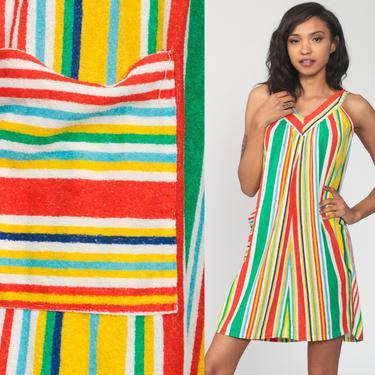 Terry Cloth Lounge Dress 70s Rainbow STRIPED Mini TENT Tunic Hippie 1970s Beach Cover Up Sundress Sun Vintage Sleeveless Boho Small by ShopExile