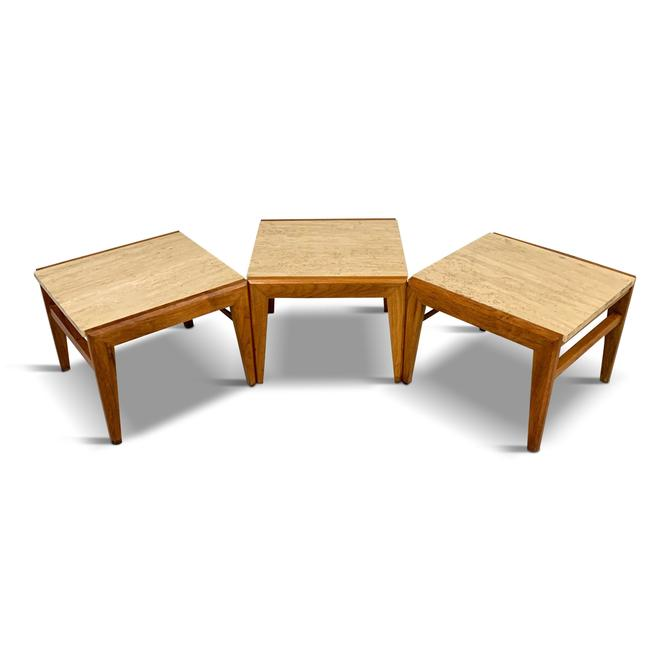 Mid-Century Trio of Walnut and Travertine Stools or Bench by Jens Risom
