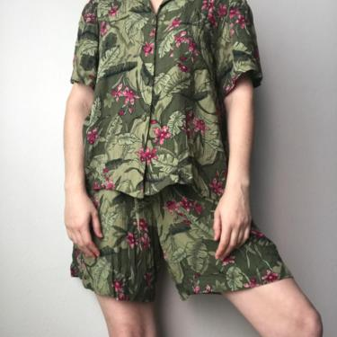 1) Vintage sag harbor Matching set tropical plant floral rayon elastic drawstring shorts short sleeve button down by GRACEandCATS