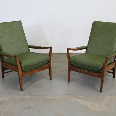 Pair of Mid Century Modern Walnut Open Arm  Lounge Chairs by AnnexMarketplace