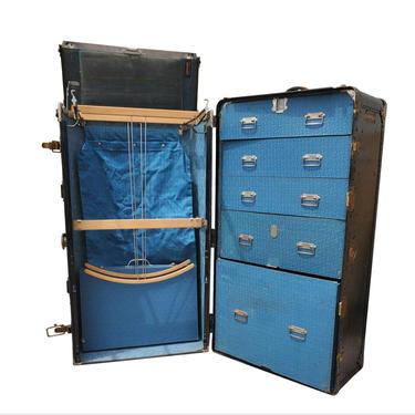 1920s American Art Geo Wheary Designed Hartmann Trunk Co. Cushion-Top Wardrobe Steamer Trunk, Monumental Storage Luggage Chest by RabidRabbitAntiques