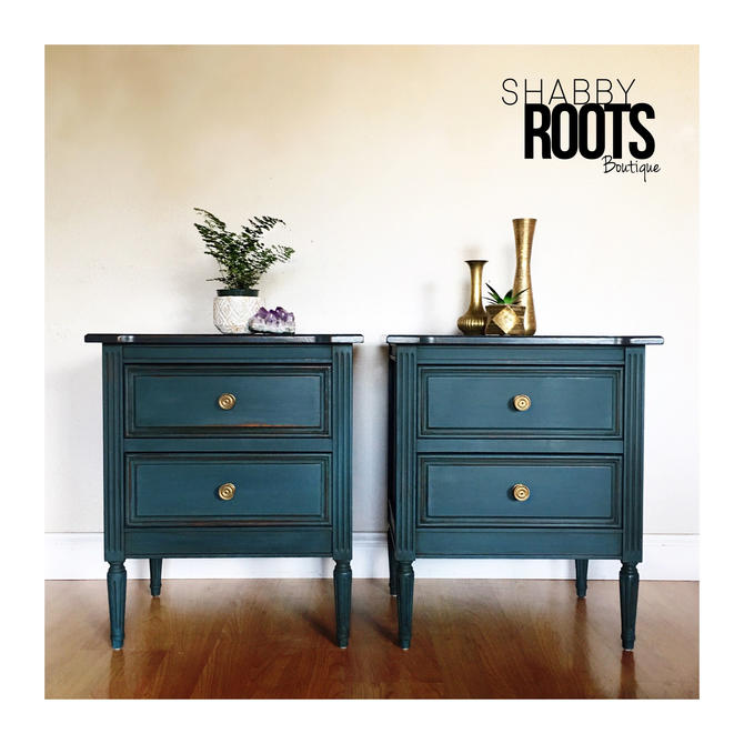 NEW! Set of Nightstands endtables - Solid wood dressers distressed indigo blue green teal color boho bohemian chic - San Francisco Bay by ShabbyRootsBoutique