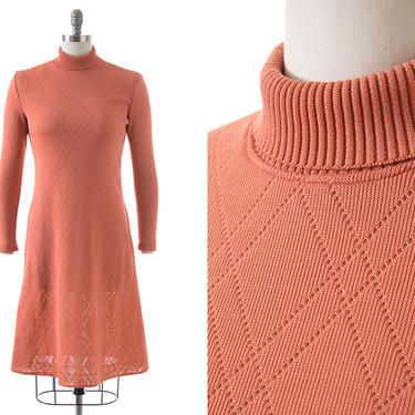 Vintage 1970s Sweater Dress | 70s Peach Pink Knit Acrylic Turtleneck Long Sleeve Fit and Flare Sweaterdress (xs/small/medium) by BirthdayLifeVintage