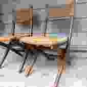 Hans Wagner Style Folding Chair Pair