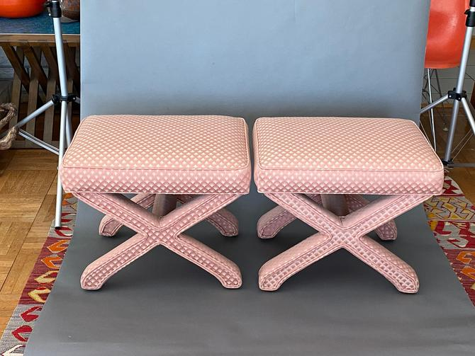 Pair Vintage MCM Pink Upholstered X-Base Benches Ottomans by Walkingtan