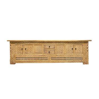 Oriental Vintage Xin Jiang Geometric Carving Rough Low TV Table Cabinet cs6123E by GoldenLotusAntiques