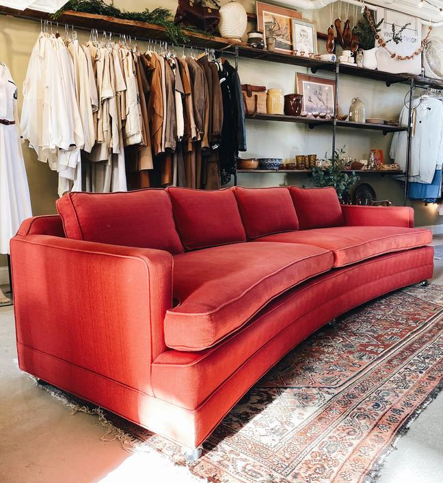 Red Edward Wormley Dunbar Curved Sofa on Casters, Shipping is not Free by VintageandSwoon