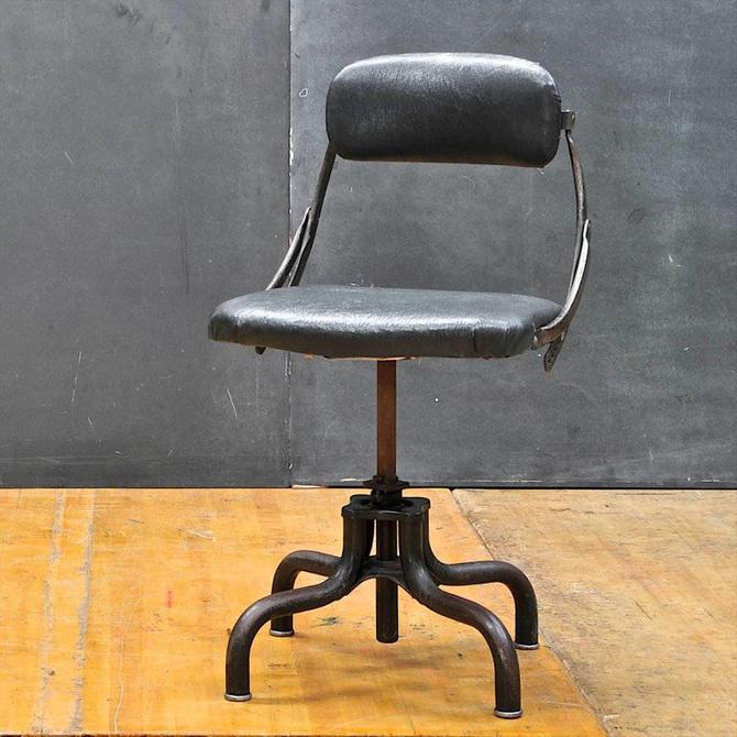 Vintage Industrial Clerks Desk Chair 1920s Highly Adjustable Manual Steel by BrainWashington