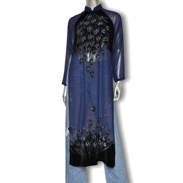 Vintage Cheongsam Dress Blouse Navy Blue Velvet and Sheer with Tulip Floral Designs S by TheUnapologeticSoul