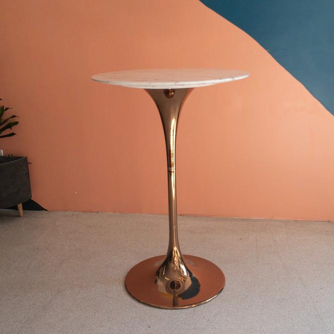Modern Rose Gold & White Marble Top Tulip Bar Table