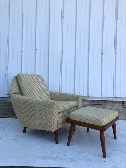 Mid Century Danish Lounge Chair & Teak Ottoman