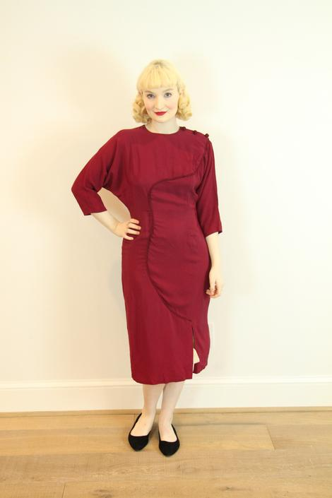 SEXY Vintage 1950s Dress Burgundy Red Rayon with Rope Design Marilyn Monroe Size M L by WalkinVintage