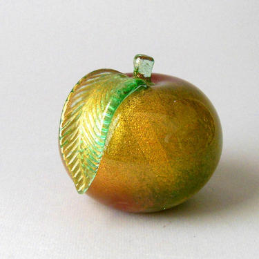Vtg 50s BARBINI Vetreria MURANO Blown Glass Peach Apple BOOKEND 2 Ground Surfaces Gold Green Pink Weight Sculpture Sommerso 5in Italy Heavy by FultonLane