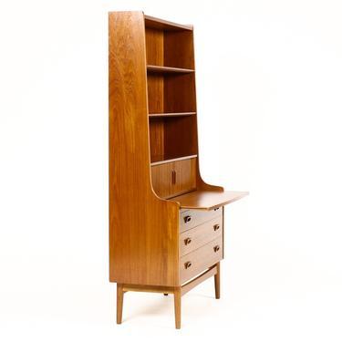 Danish Modern / Mid Century Teak Upright Bookshelf / Secretary Desk — Tambour Doors —Johannes Sorth —Bornholm Mobelfabrik by atomicthreshold