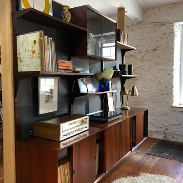 Mid century modern wall unit Cado wall unit Danish modern bookshelf by VintaDelphia