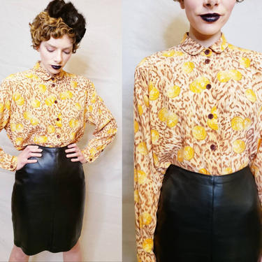 1980s Escada Silk Print Blouse Coin Animal Print Orange Gold Brown /80s Eagle Currency Graphic Print Long Sleeve Designer Button Down Shirt by RareJuleVintage