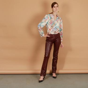 90s Burgandy Red Leather Pants Vintage Low Rise Y2K Soft Leather Flare Trousers by AppleBranchesVintage