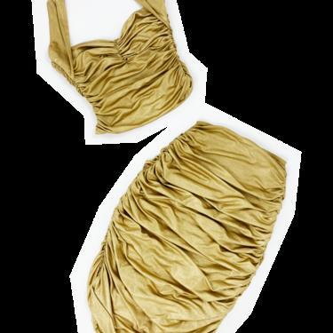 Norma Kamali OMO 90s gold halter and skirt set