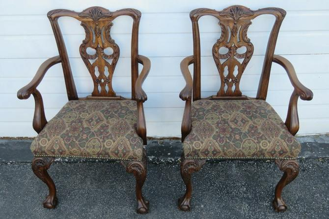 Chippendale Carved Ball and Claw Feet Mahogany Two Arm Dining Chairs 1865