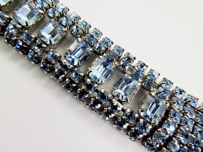 Light Blue Silver Tone Rhinestone Bracelet by LegendaryBeast