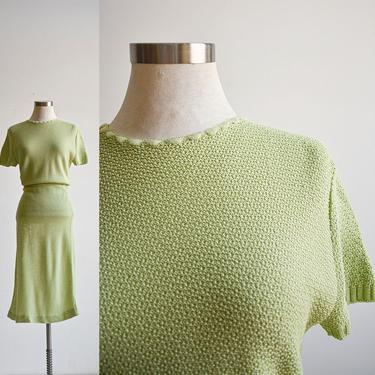 Vintage Pale Green Knit 2pc Skirt Set by milkandice