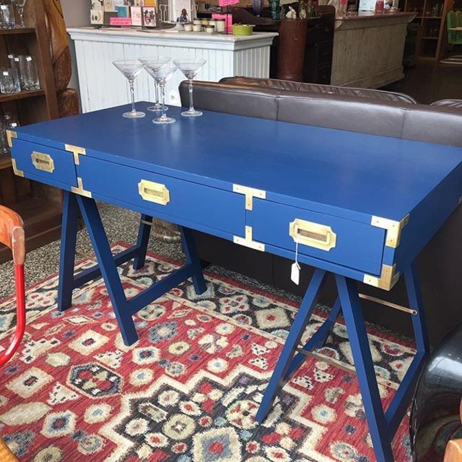 Gorgeous blue campaign desk!