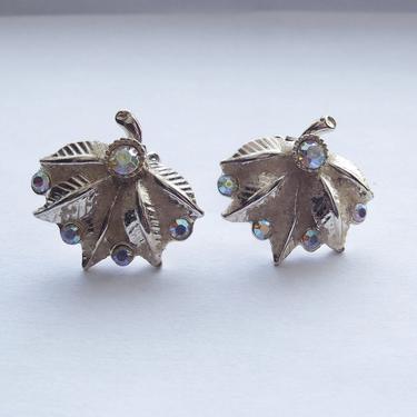 Vintage 50s Clip On Rhinestone Earrings   1950s Clip On Earrings   Aurora Borealis Rhinestones   Leaf Fan Earrings   Goldtone Art-Deco by IntrigueU4Ever