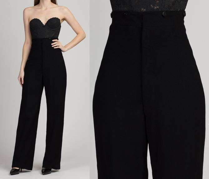 "Vintage 1940s High Waist Black Wool Military Pants - 28"" Waist   Vintage 40s WWII Era Unisex Authentic Dress Trousers by FlyingAppleVintage"