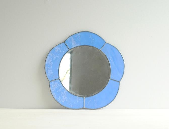 Vintage Blue Glass Mirror Small Wall Mirror Blue Mirror Leaded Glass Mirror Stained Glass Mirror By Littledogvintage From Little Dog Vintage Of Boston Ma Attic