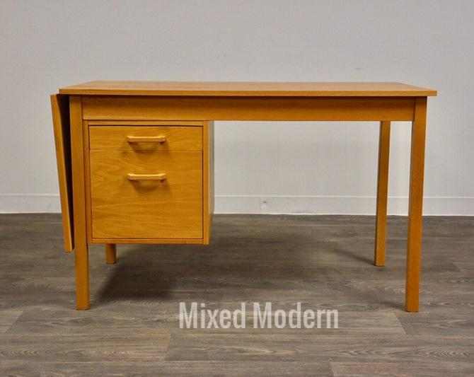 Danish Modern Oak Drop Leaf Desk by mixedmodern1