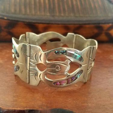 Mexican sterling silver bracelet, boho bracelet, bohemian jewelry, abalone shell by ErstwhileStyle