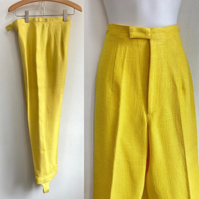 Vintage Acid Yellow 50's 60's SLIM TRIM Stirrup Pants / High Waist / Cotton Linen by CharmVintageBoutique