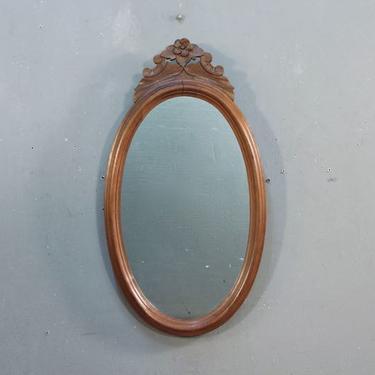 Victorian Carved Walnut Oval Mirror