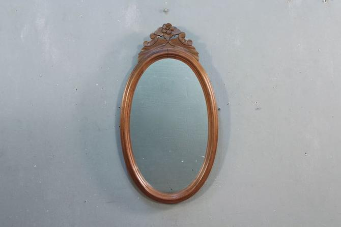 Victorian Carved Walnut Oval Mirror