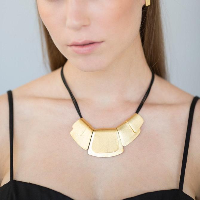 Statement Gold Necklace, Statement Bib Necklace, Gold Bib Necklace, Black and Gold Necklace, Fashion Gold Necklace, Cleopatra Gold Necklace by OrlySegal