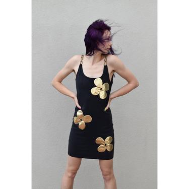 1990's | Nouveau Riche |  Vintage Body Con Dress with Chain Straps by LadyofLizard