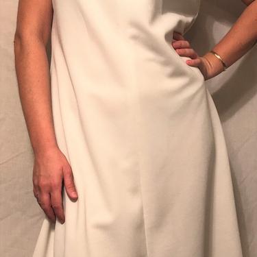 1960s White Sleeveless Tennis Shift Dress    Polyester w/Navy Geometric Trim Detail    Size XL by CelosaVintage