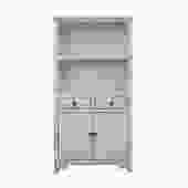 Oriental Distressed Cream Off White Open Shelf Bookcase Cabinet cs5392S