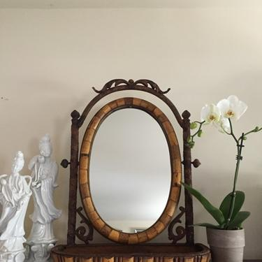 Antique Victorian Oval Bamboo Mirror