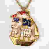 1970s americana clipper ship necklace by flutterandecho