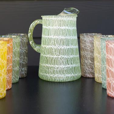 SPAGHETTI DRIZZLE GLASS Pitcher Set - 9 pc/8 glasses - Mi-Century Modern, Vintage, Tiki by CovetModernDesign