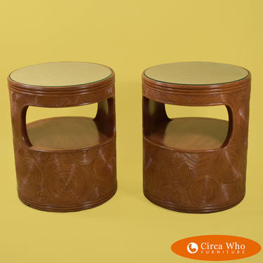 Pair of Crespi Style Pencil Reed Drum End Tables