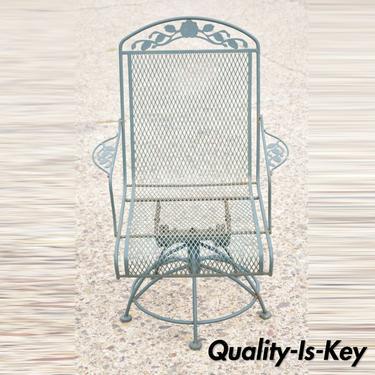 Vintage Meadowcraft Dogwood Green Wrought Iron Swivel Spring Garden Patio Chair