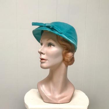 Vintage 1950s Turquoise Velvet Cap, 50s Aqua Hat by Betmar, Medium by RanchQueenVintage