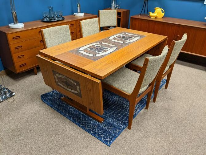 Danish Modern teak drop leaf dining table with handpainted tiles
