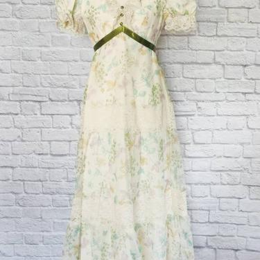 Vintage 70s Floral Dress // Floor Length Puffed Sleeves with Sheer Overlay by GemVintageMN