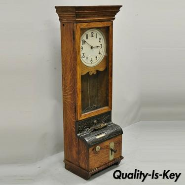 Antique International Time Recording Co. Golden Oak Wood Wall Mount Time Clock