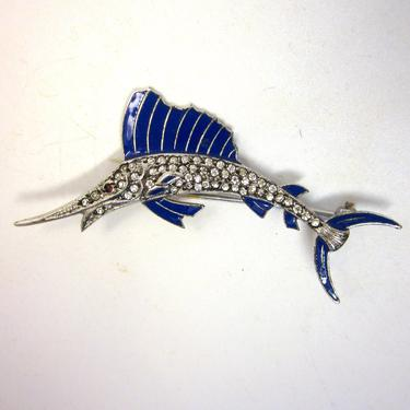 Vintage Sterling Silver and Blue Enamel Swordfish or Marlin Pin Brooch with Sparkling White Rhinestones by LazyDogAntiqueStore