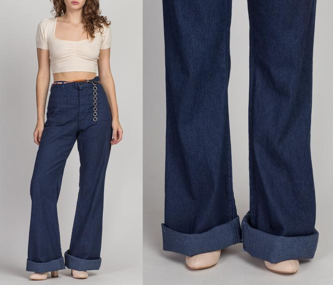 70s Flared Denim Sailor Pants - Men's Medium, Women's Large   Vintage High Waisted Long Inseam Navy Dark Wash Blue Jeans by FlyingAppleVintage