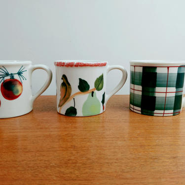Hartstone Pottery Mug(s) | Ornaments | Partridge in Pear Tree | Green Plaid | Zanesville OH | 1982 by TheFeatheredCurator